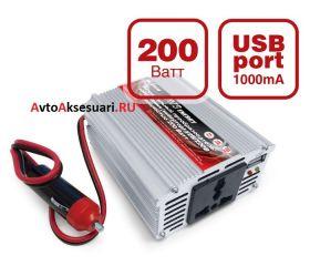 Автомобильный инвертор 12/220V 200W